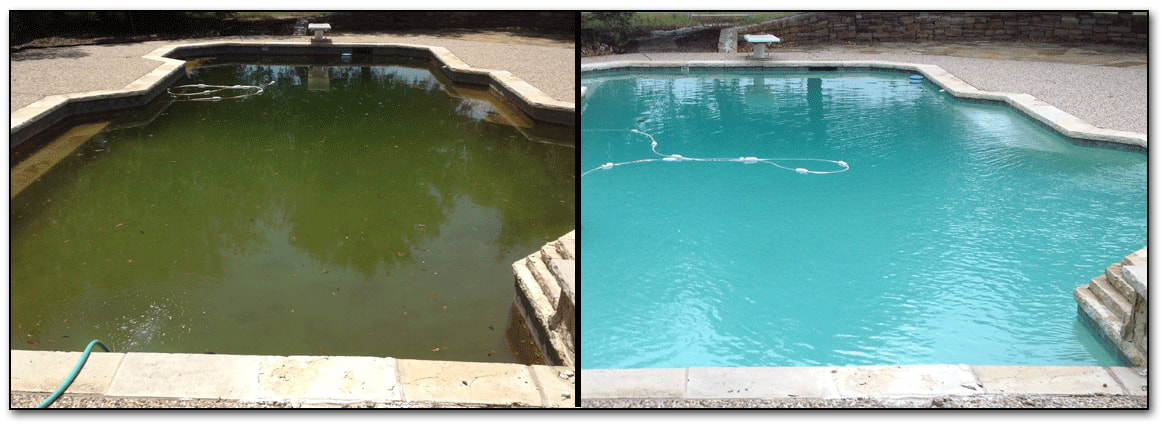 2 pictures, one of a swampy green pool and one of a sparkling blue pool